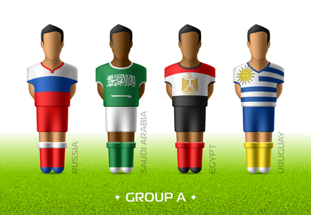 Football / soccer team players in the uniform of national flags for football championship in Russia 2018. Group A with footballers of Russia, Saudi Arabia, Egypt and Uruguay Vectores