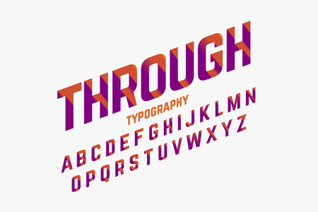 Cutted through font in retro style, alphabet and numbers