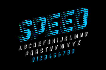 Speed style font, alphabet and numbers