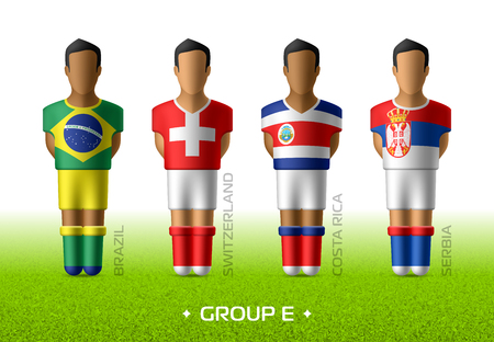 Football / soccer team players in the uniform of national flags for football championship in Russia 2018. Group E with footballers of Brazil, Switzerland, Costa Rica and Serbia Imagens - 98771889