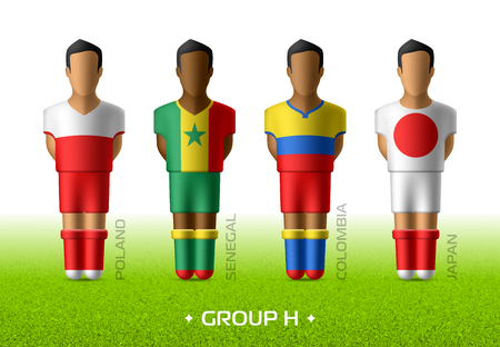 Football  soccer team players in the uniform of national flags for football championship in Russia 2018. Group H with footballers of Poland, Senegal, Colombia and Japan Illustration