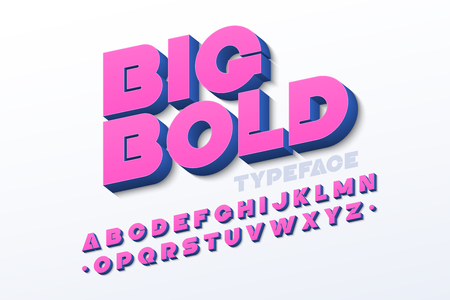 Bold 3d font in pink color Vectores