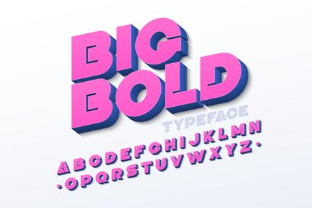 Bold 3d font in pink color Illustration