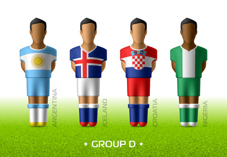 Football  soccer team players in the uniform of national flags for football championship in Russia 2018. Group D with footballers of Argentina, Iceland, Croatia and Nigeria