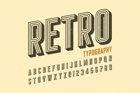 Retro style vintage font Illustration