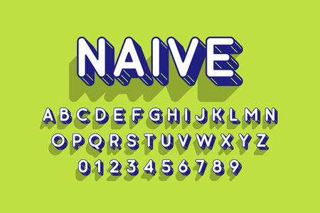 Rounded retro style 3d font
