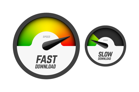 Fast and slow download speedometers, speed test Illustration