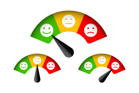 Customer satisfaction meter with different emotions, feedback concept