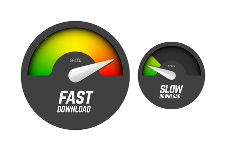 Fast and slow download speedometers, speed test Vectores
