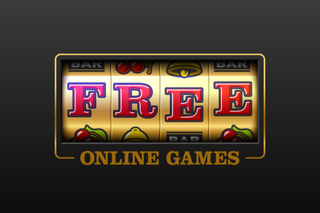Free Online Games, slot machine games banner, gambling casino games Illusztráció