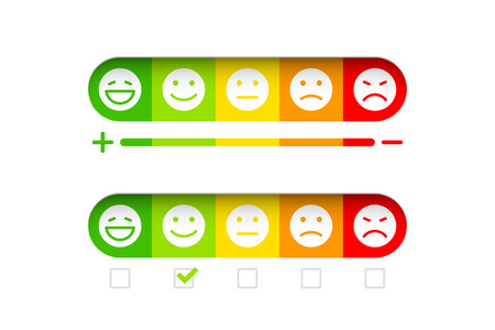Feedback concept with different emoticons Illustration