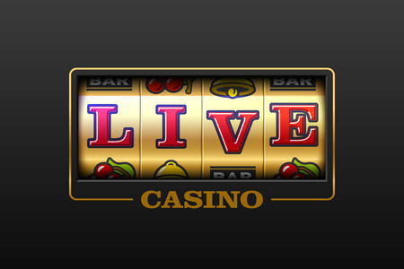 Live Casino games slot machine banner vector illustration.