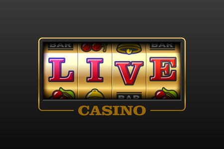 Live casinospellen gokautomaat banner vectorillustratie. Vector Illustratie