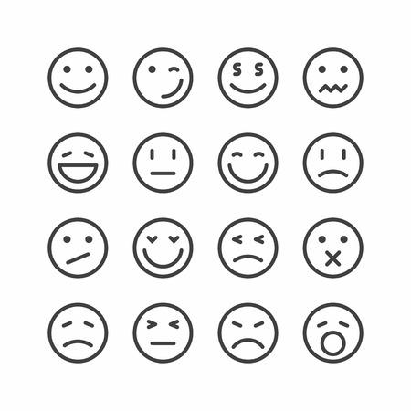 Icônes d'émoticônes, ensemble de visages smiley emoji Vector illustration. Vecteurs