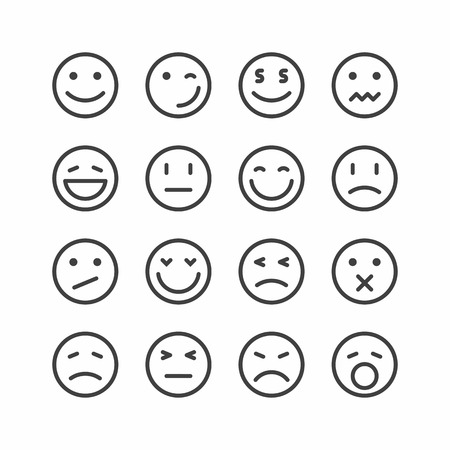 Emoticon icons, set of smiley emoji faces Vector illustration.
