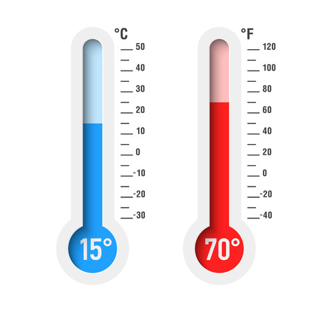 Celsius and Fahrenheit thermometers Illustration