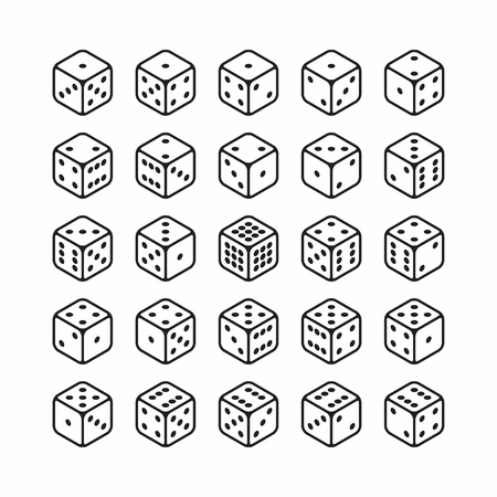 Isometric icons of 3d dice set. All 24 possible turns