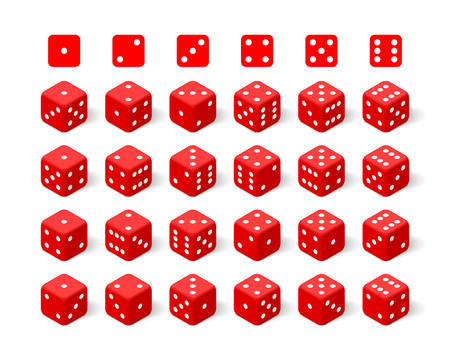 Isometric 3d red dice set. Twenty four combinations