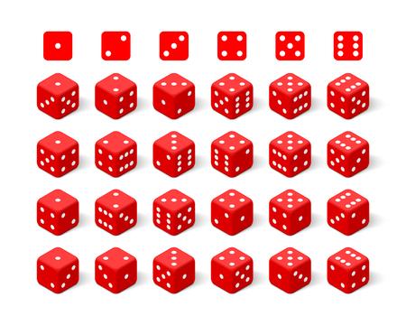 Isometric 3d red dice set. Twenty four combinations Zdjęcie Seryjne - 100842968