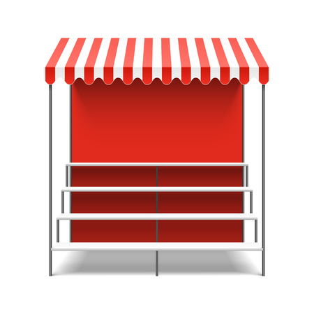 Street flower market stall with awning Stock Illustratie