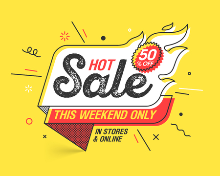 Weekend Hot Sale banner template in flat trendy memphis geometric style, retro 80s - 90s paper style poster, placard, web banner design