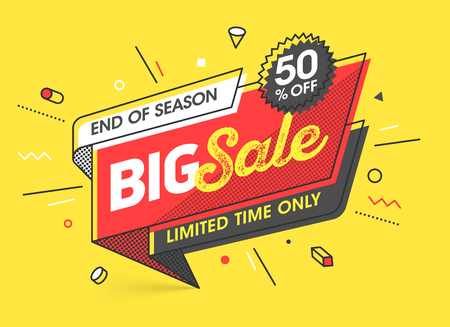 Big Sale banner template in flat trendy memphis geometric style, retro 80s - 90s paper style poster, placard, web banner design