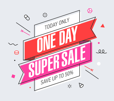 One Day Super Sale banner template in flat trendy memphis geometric style, retro 80s - 90s paper style poster, placard, web banner design