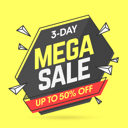 Mega Sale banner template in flat trendy memphis geometric style, retro 80s - 90s paper style poster, placard, web banner design Illustration