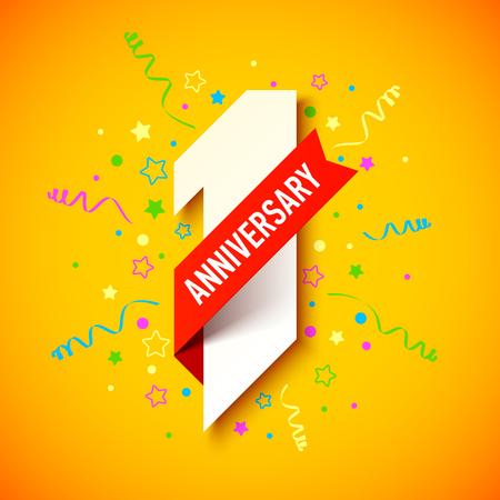 One year anniversary celebration card design