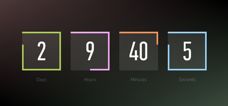 Countdown clock counter timer, coming soon or under construction web site page time remaining count down