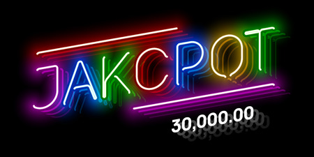 Jackpot, gambling game bright neon banner with winning. Casino or lottery advertising template