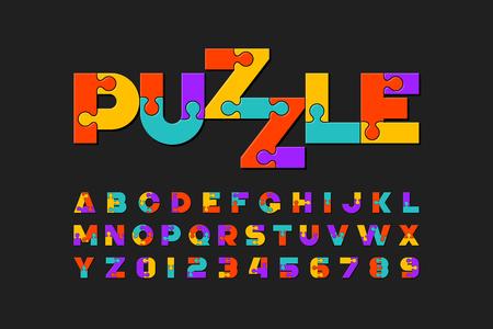 Puzzle-Schrift, bunte Puzzle-Alphabet-Buchstaben und Zahlen