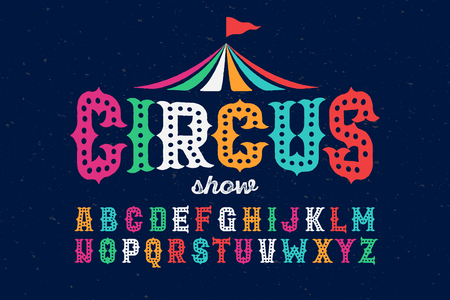 Vintage style roughen circus font Illustration