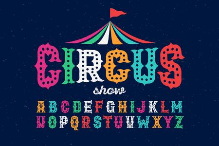 Vintage style roughen circus font Çizim
