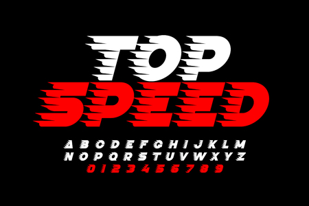 Top Speed style font, alphabet and numbers