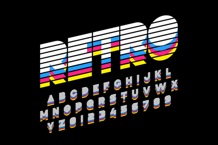 Colorful retro font, 80s style alphabet letters and numbers