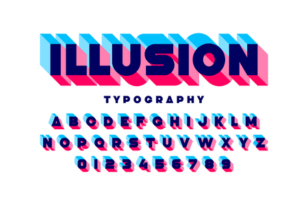 Modern bold 3d font Illusion, alphabet letters and numbers