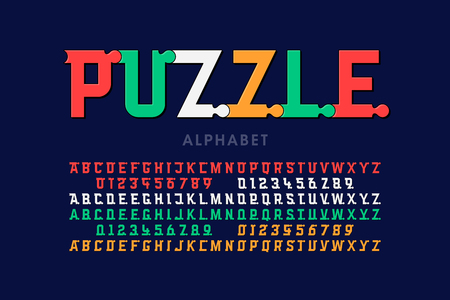 Puzzle font, colorful jigsaw puzzle alphabet letters and numbers