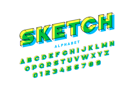 3d style sketchy font, alphabet letters and numbers Иллюстрация
