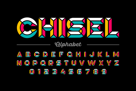 Retro style chisel font, colorful alphabet letters and numbers Illusztráció