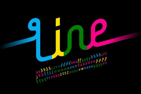 Colorful one line font, one single continuous line alphabet