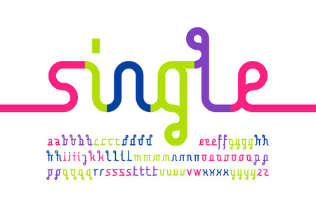 Colorful one line font, one single continuous line alphabet