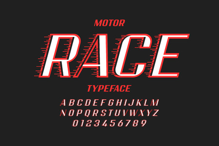 Retro style speedy typfeface, alphabet letters and numbers