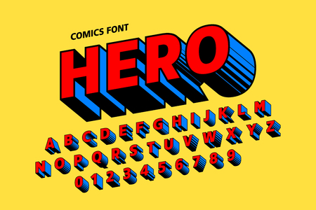 Comics style font design, alphabet letters and numbers Vettoriali