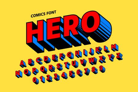 Conception de polices de style bande dessinée, lettres et chiffres de l'alphabet Vecteurs