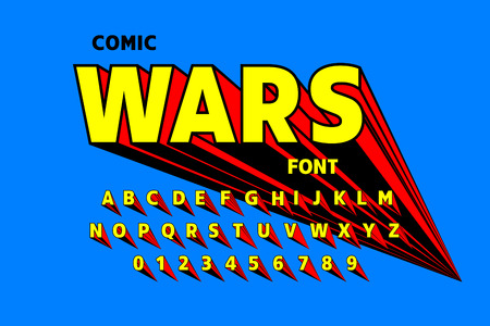 Comics style font design, alphabet letters and numbers Çizim
