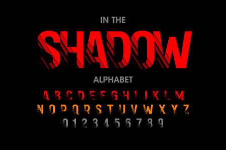 Modern font with shadow effect, alphabet letters and numbers Illustration
