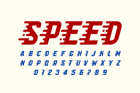 Speed style retro font design, alphabet letters and numbers