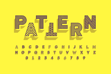 Modern font design with different patterns inside, alphabet letters and numbers Vector Illustratie
