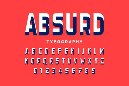 Onmogelijke vorm lettertype ontwerp, Alfabetletters en cijfers Vector Illustratie
